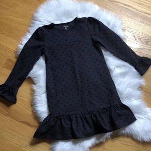 Lands End Black Polka Dot Girls Dress 6X